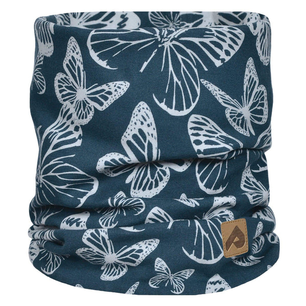 Cotton jersey neck warmer - Navy butterfly