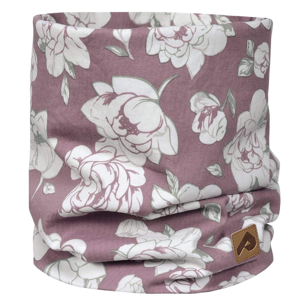 Cotton jersey neck warmer - Plum peony