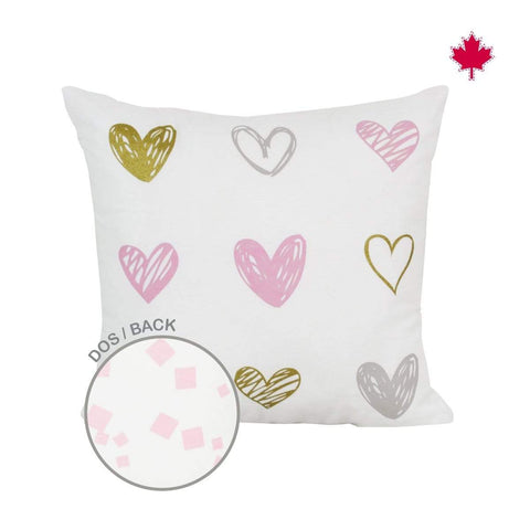 Reversible cushion - heart print