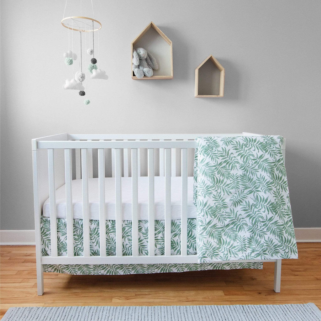 4 pieces crib set - Tropical green