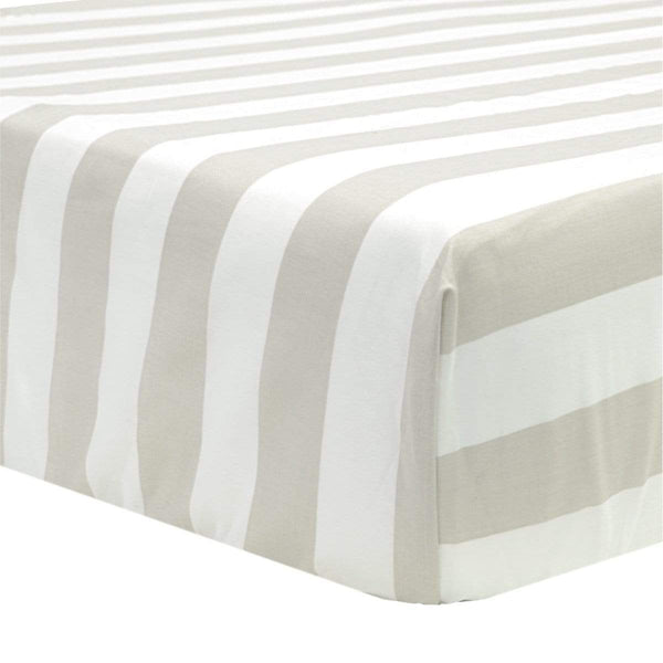 Crib flat sheet - taupe stripes