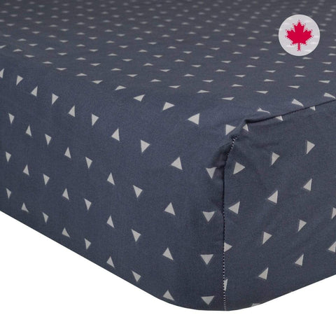 Crib flat sheet - navy triangles