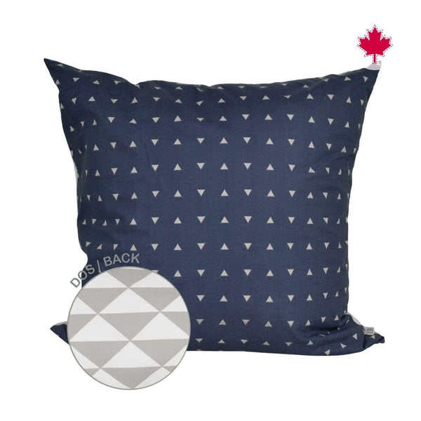 Reversible large cushion - navy triangles