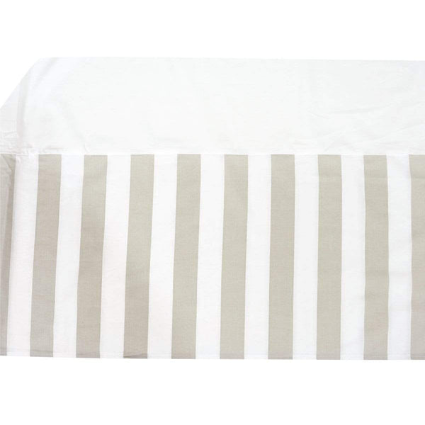 Printed bed skirt - taupe stripes