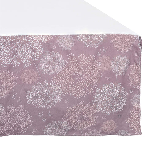 Crib bed skirt - Plum dandelions