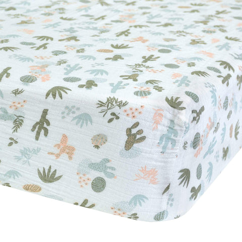 Crib cotton muslin fitted sheet - Cactus aqua