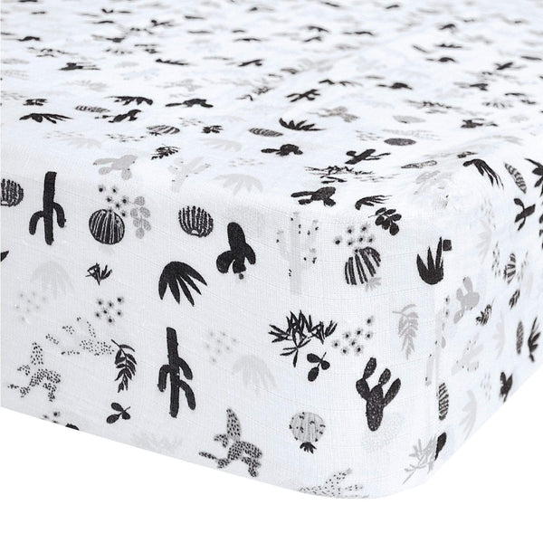 Crib cotton muslin fitted sheet - Cactus black