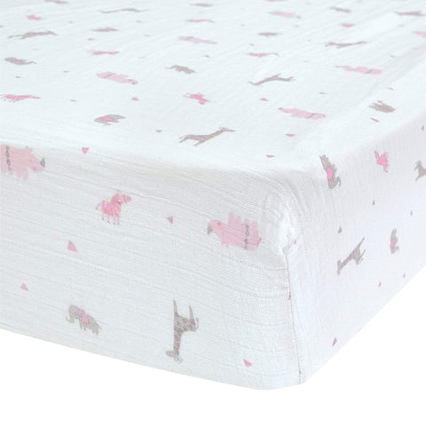 Crib cotton muslin fitted sheet - Safari pink