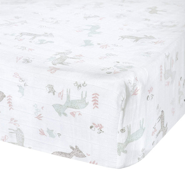 Crib cotton muslin fitted sheet - Pink forest