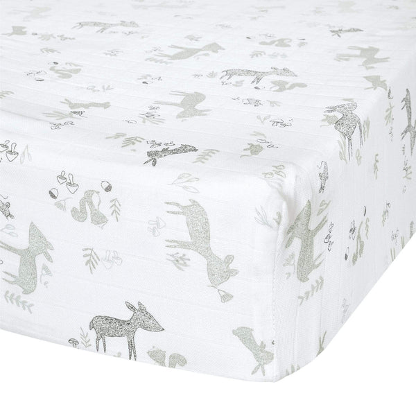 Crib cotton muslin fitted sheet - Green forest