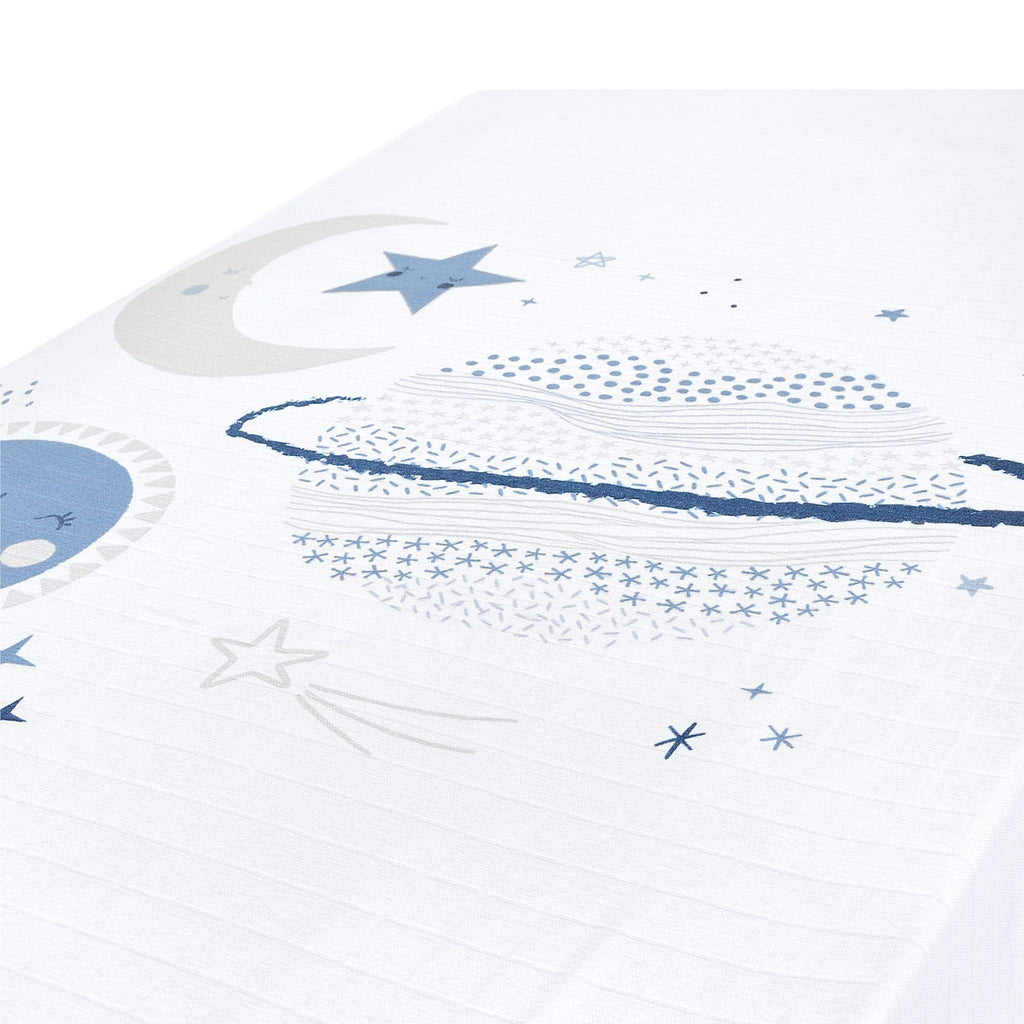 Crib cotton muslin fitted sheet - Blue planets scene
