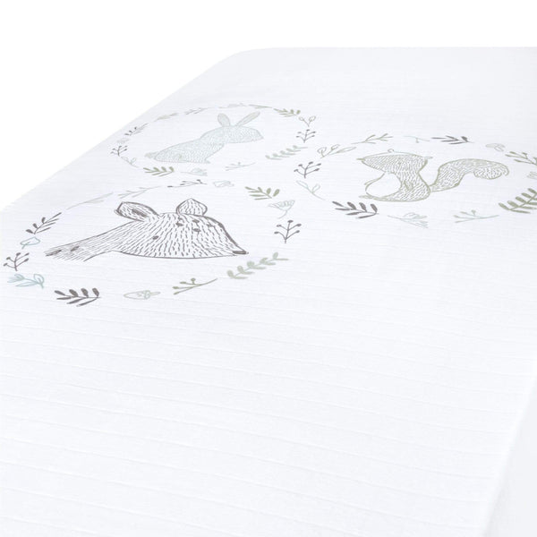 Crib cotton muslin fitted sheet - Scene green forest
