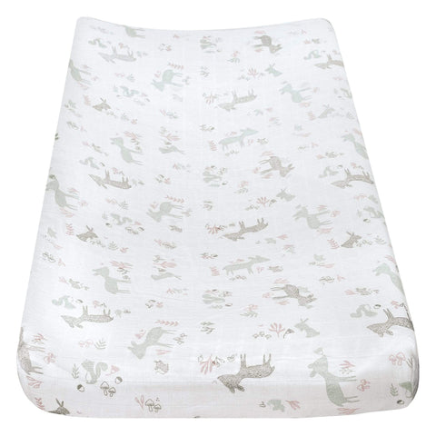 Muslin change pad cover - Pink forest