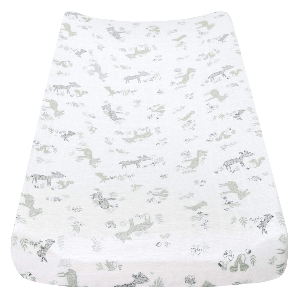 Muslin change pad cover - Green forest