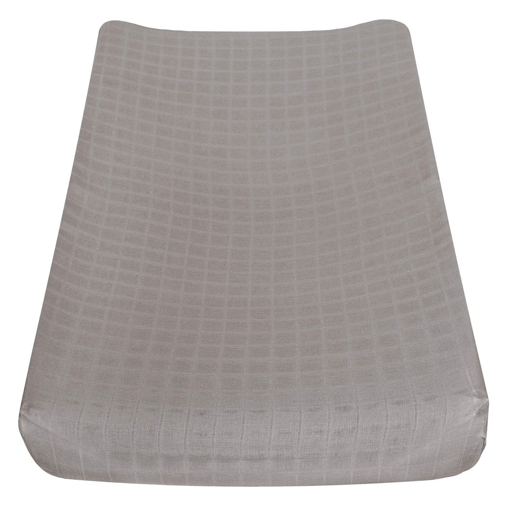 Cotton muslin change pad cover - taupe