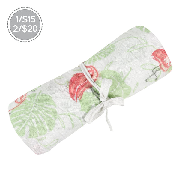 Cotton muslin swaddle - Pink Flamingos