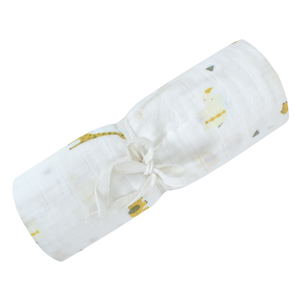 Cotton muslin swaddle - Green safari