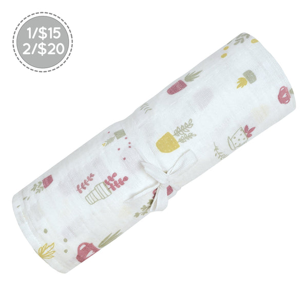Cotton muslin swaddle - planters