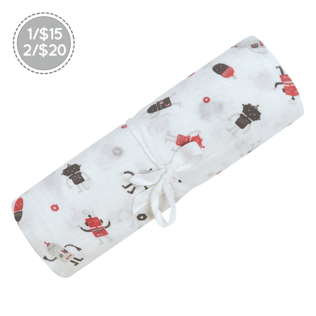 Cotton muslin swaddle - robots