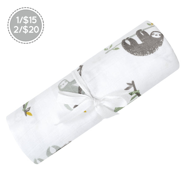 Cotton muslin swaddle - Sloths