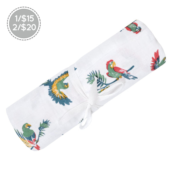 Cotton muslin swaddle - Parrots