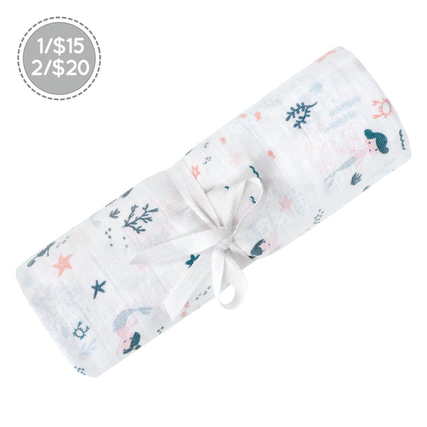 Cotton muslin swaddle - Mermaids