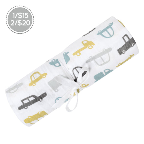 Cotton muslin swaddle - Cars