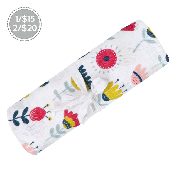 Cotton muslin swaddle - flowers