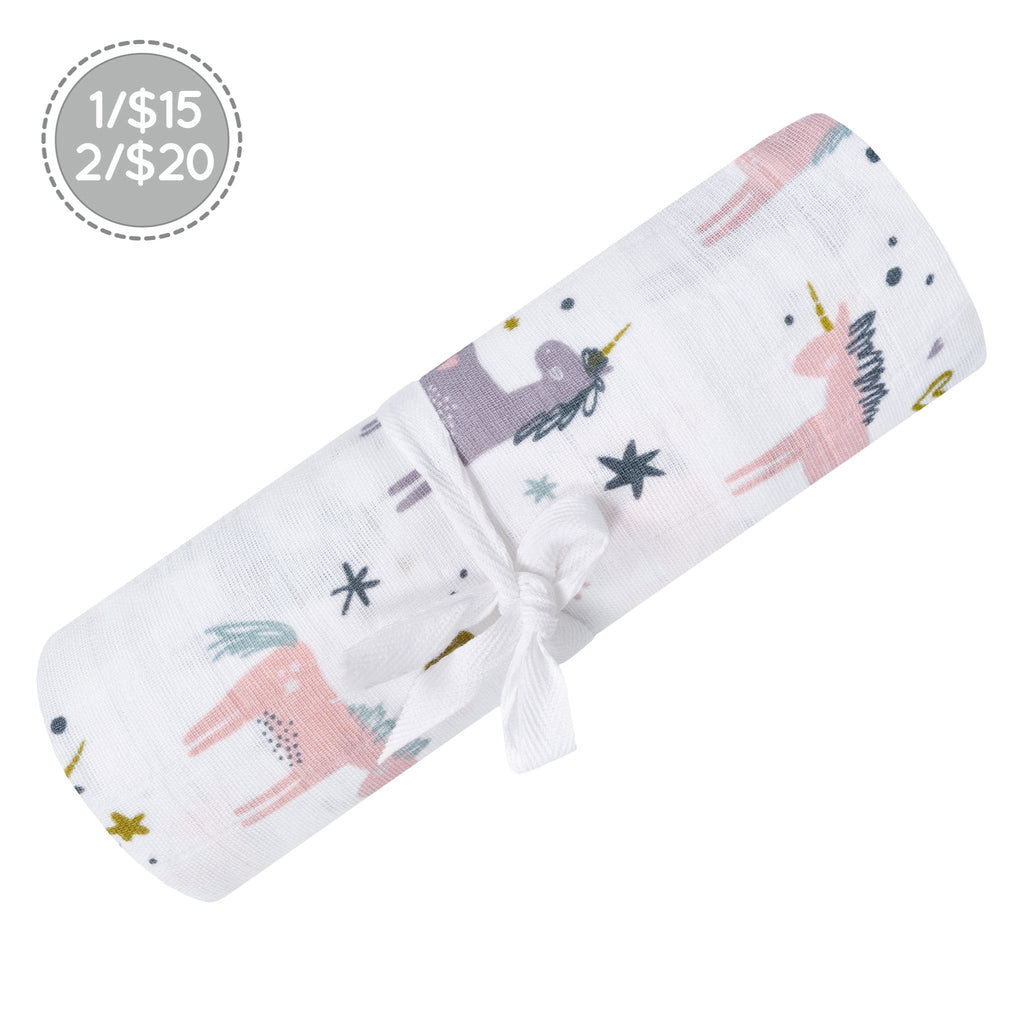 Cotton muslin swaddle - unicorn