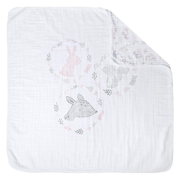 4 layers muslin quilt blanket - Scene pink forest