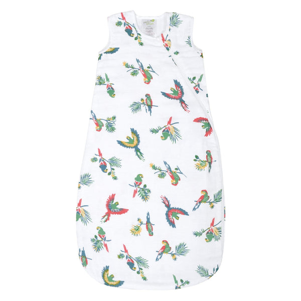 Cotton muslin sleep bag - Parrots (0.7 tog)