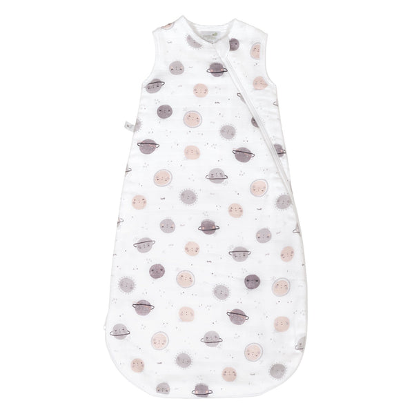 4 layers cotton muslin sleep bag - Plum planets (1.5 tog)
