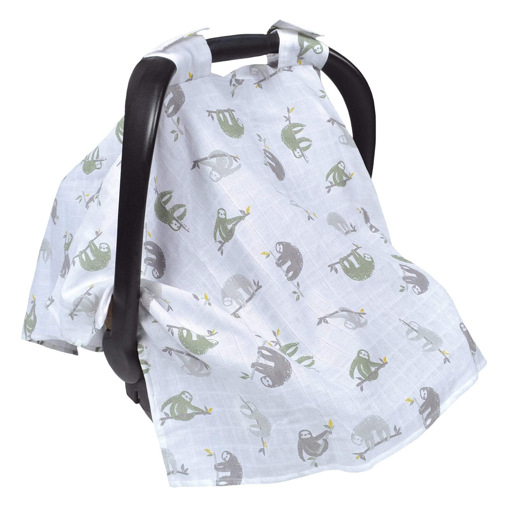 Cotton muslin car seat canopy - sloths