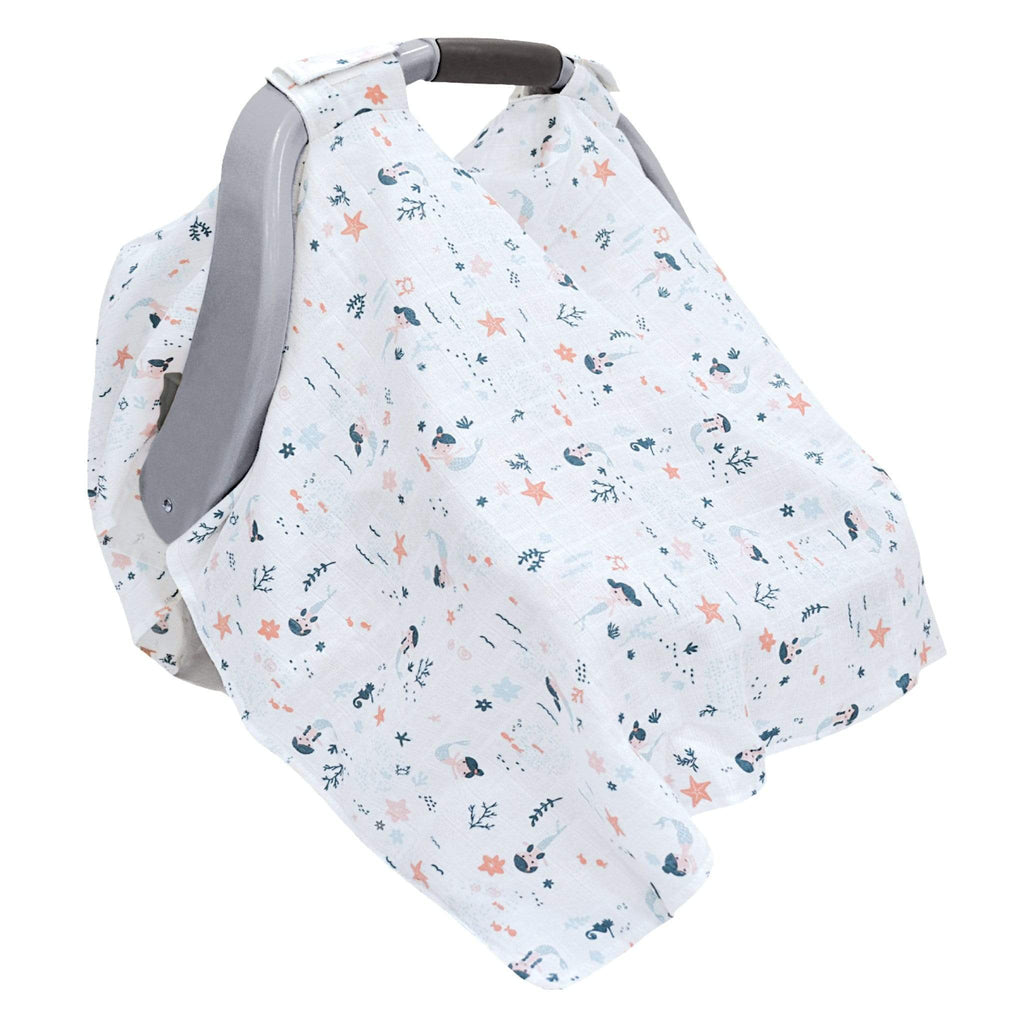 Cotton muslin car seat canopy - mermaids