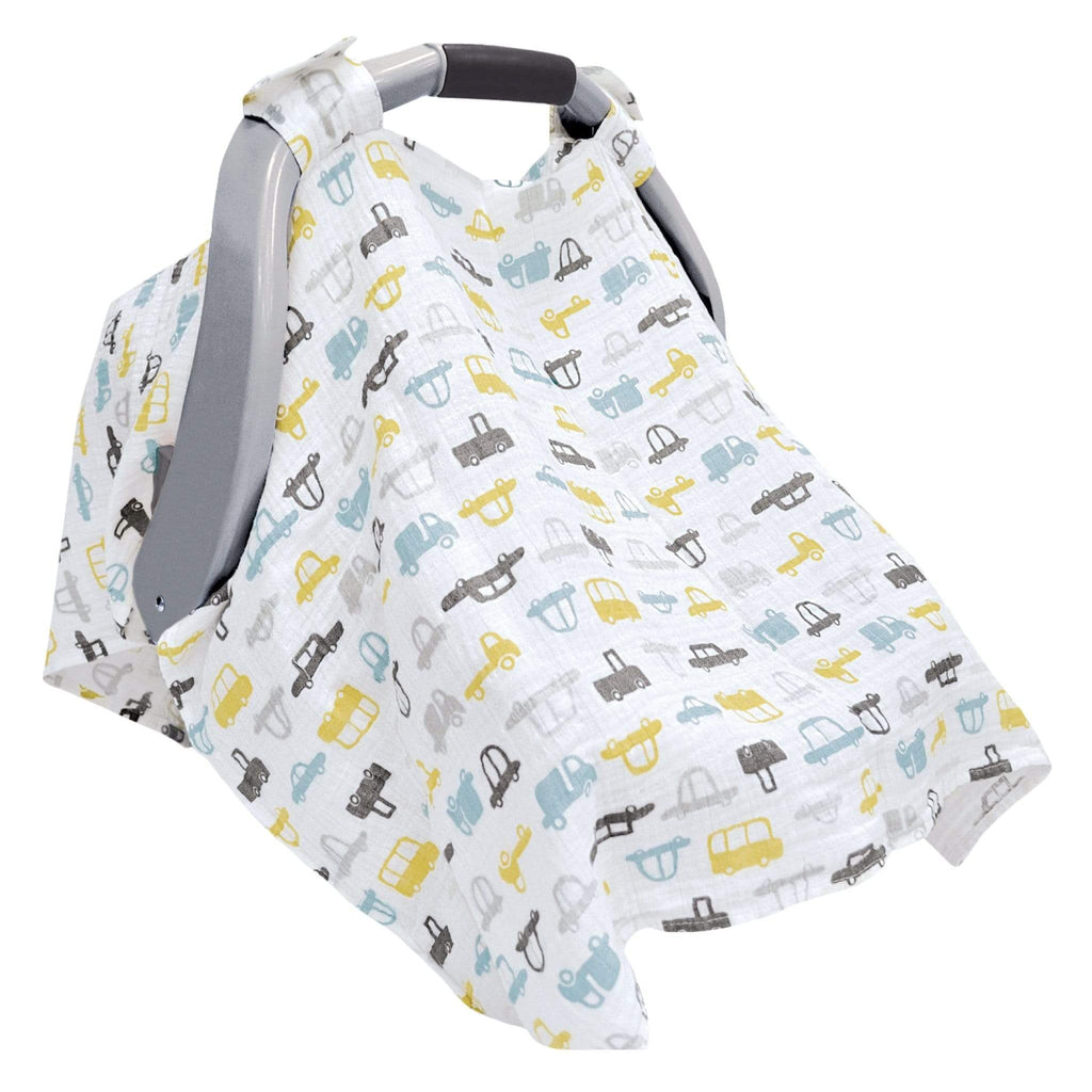 Cotton muslin car seat canopy - cars