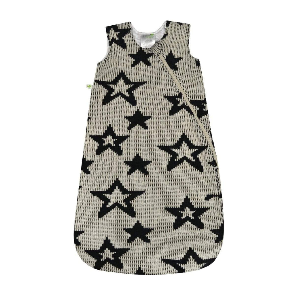 Chenille sleep bag - black stars (1.5 togs)