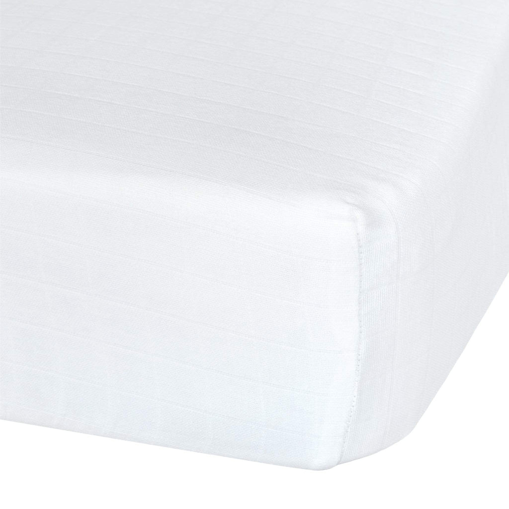 Cotton muslin fitted sheet - white