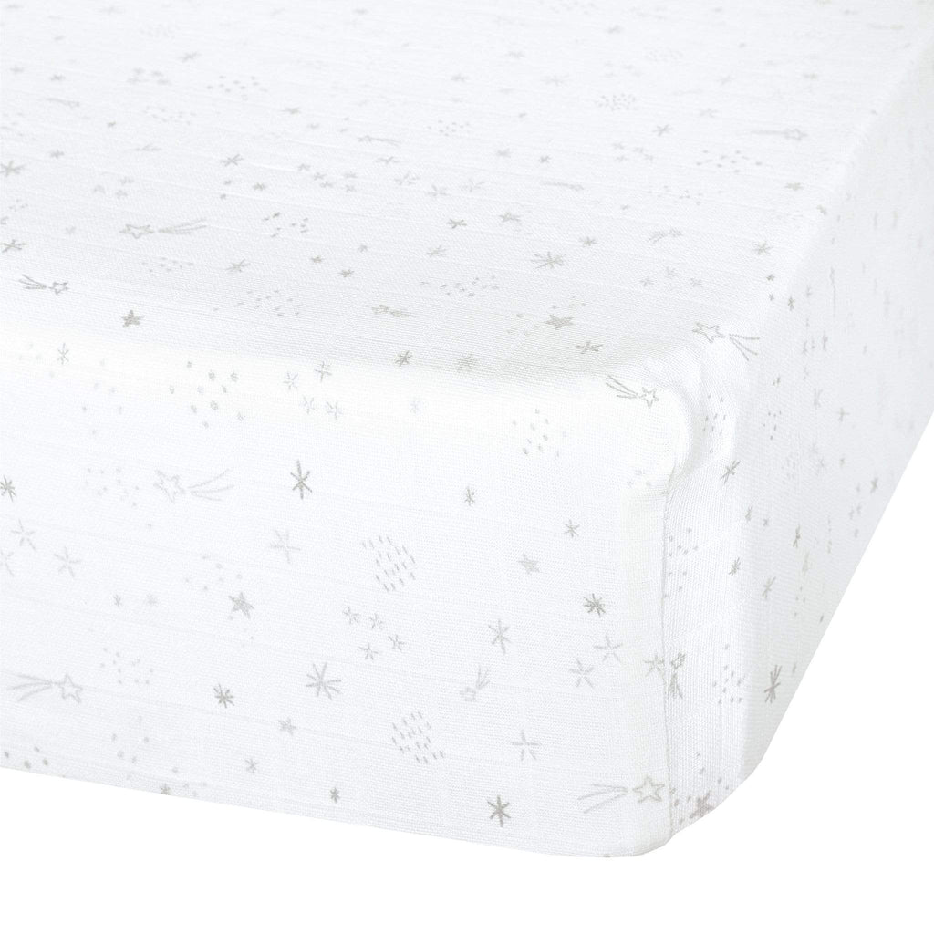 Cotton muslin fitted sheet - stars