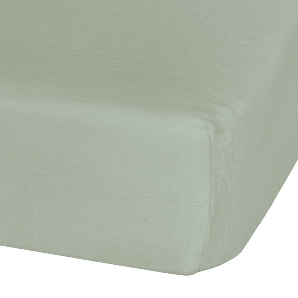 Cotton muslin fitted sheet - kaki