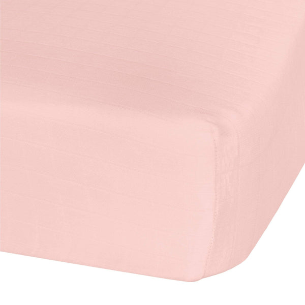 Cotton muslin fitted sheet - pink