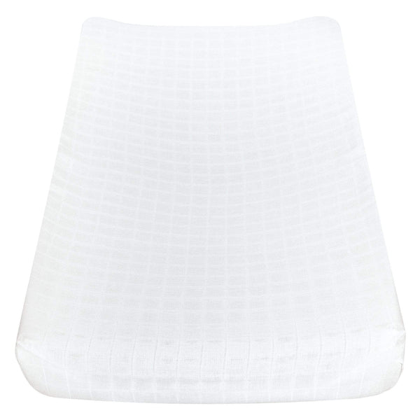 Cotton muslin change pad cover - white
