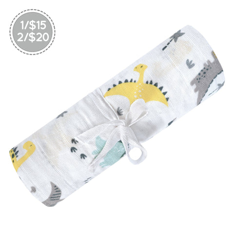 Cotton muslin swaddle - dinosaurs