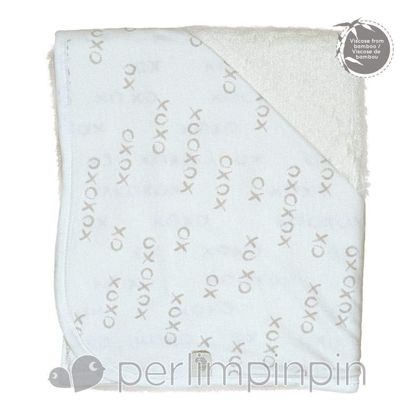 BAMBOO hooded towel - xo print