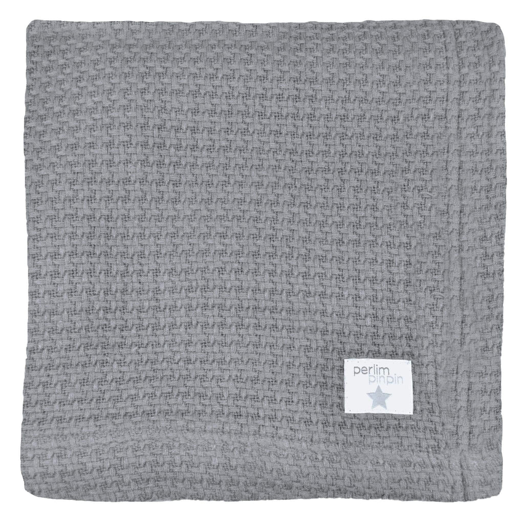 Bamboo knitted blanket - pebble