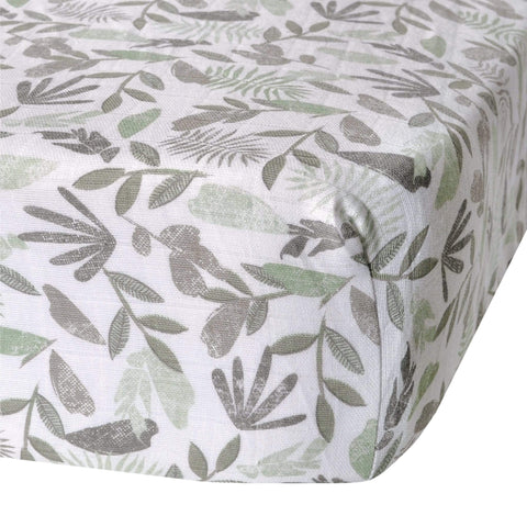 Cotton muslin fitted sheet - green leaves