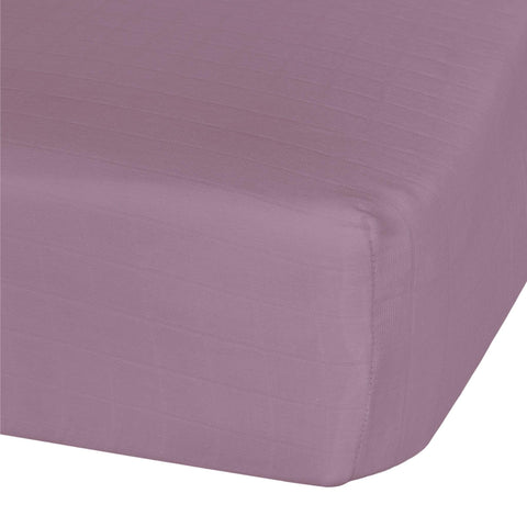 Cotton muslin fitted sheet - plum