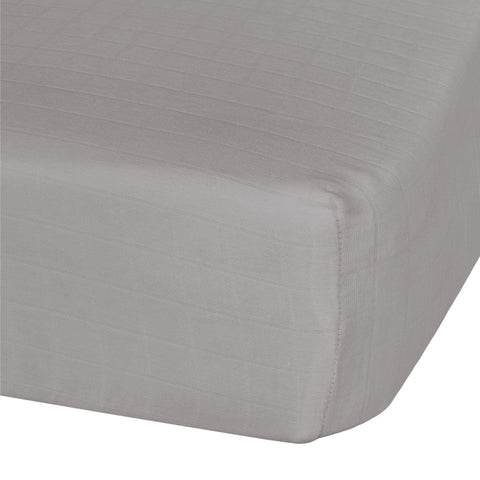 Cotton muslin fitted sheet - taupe