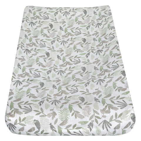 Cotton muslin change pad cover - green leaves