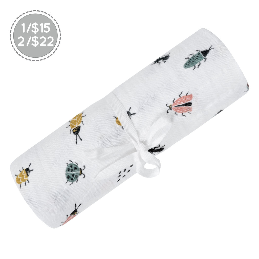 Cotton muslin swaddle - insects