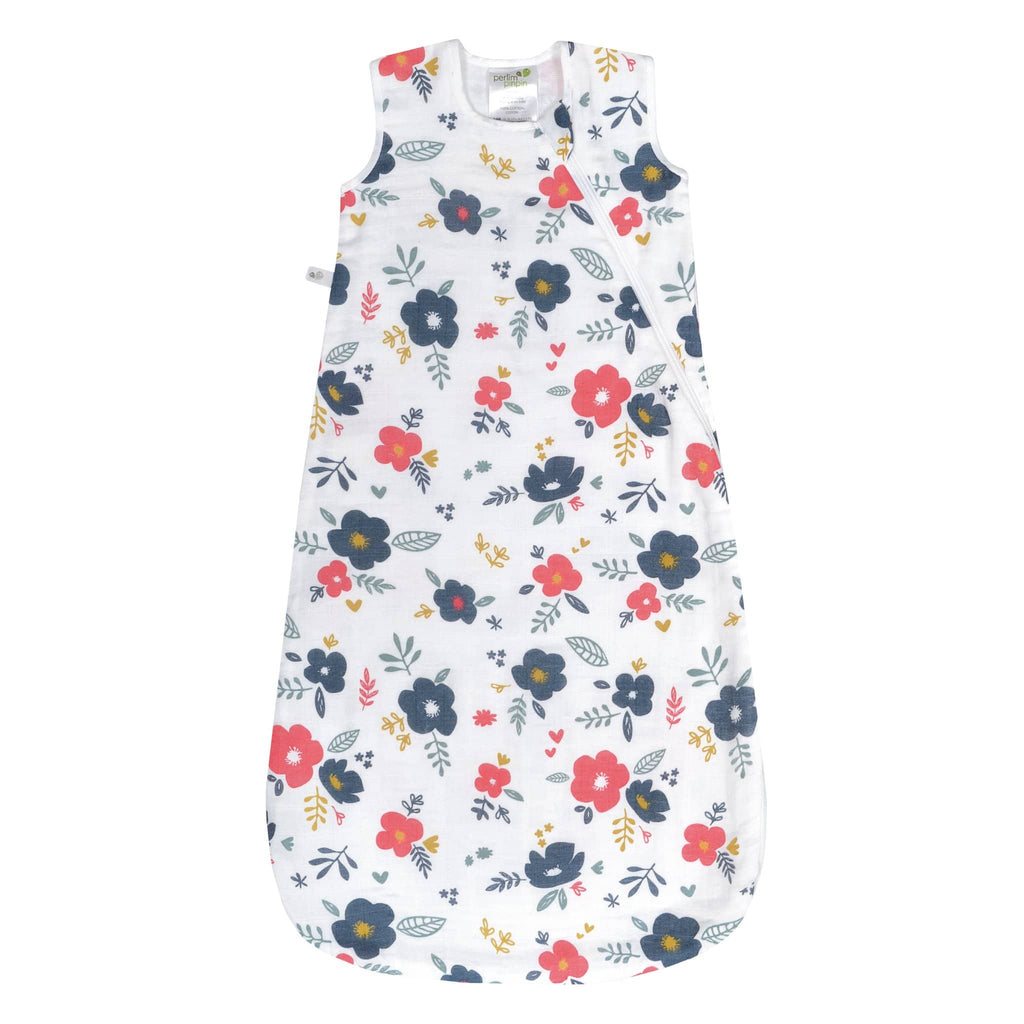 Cotton muslin sleep bag - flowers (0.7 tog)
